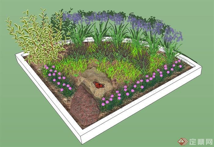园林景观节点扇形花坛设计su模型(1)