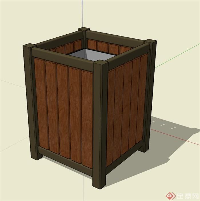现代防腐木花箱su模型(1)