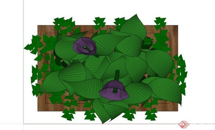 某木制花箱su模型(2)