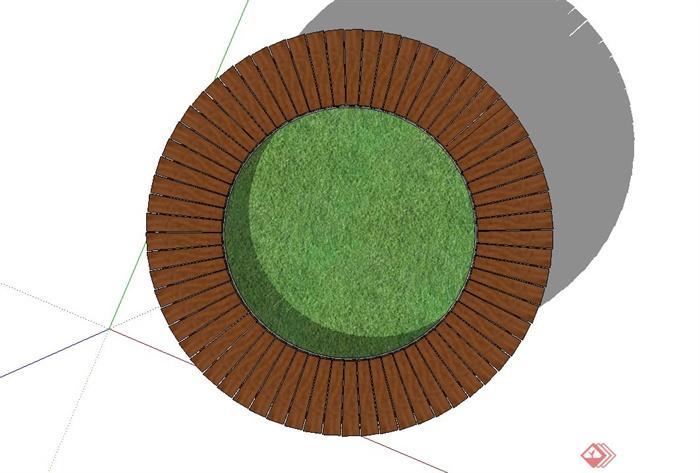 圆形木质树池坐凳,树池设计su模型[原创]