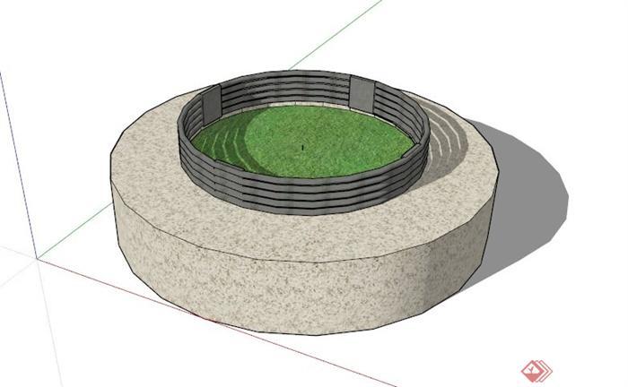 圆形树池坐凳su模型(1)