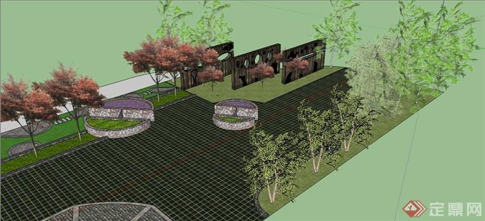 城市文化廣場一角景觀設計su模型