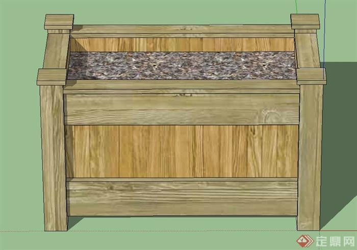 长方形木质花槽花箱设计su模型[原创]