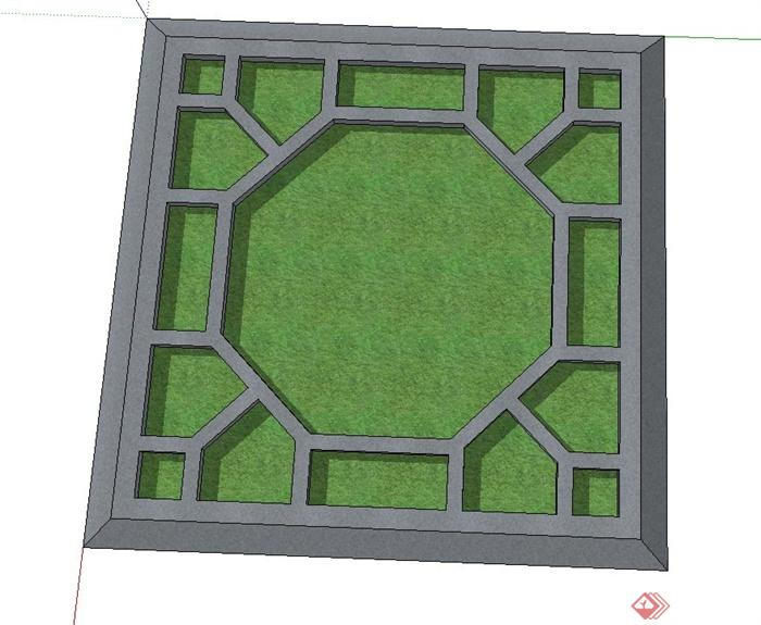 方形镂空树池设计su模型(2)