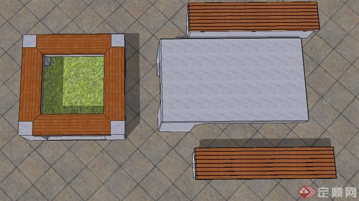 方形树池坐凳与桌椅设计su模型(2)