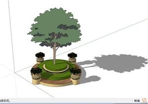 欧式环形阶梯树池坐凳SU(草图大师)模型