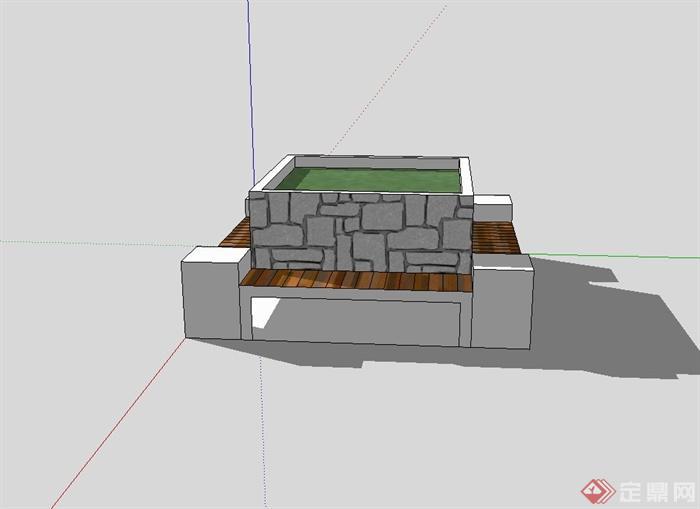 现代树池,坐凳组合设计su模型(2)