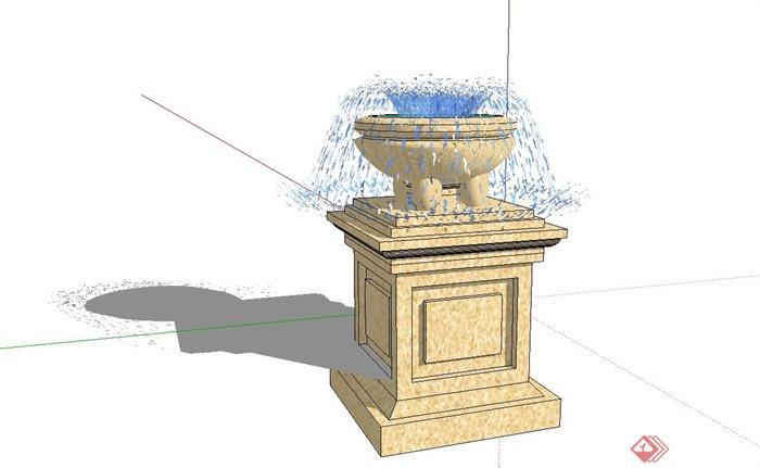 欧式喷泉水钵设计su模型