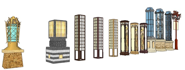 新中式庭院景观灯su精致设计模型(1)图片