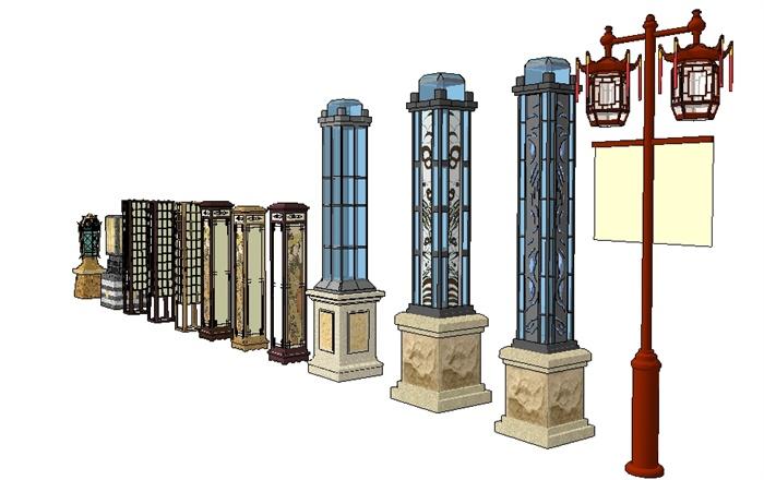 新中式庭院景观灯su精致设计模型(2)图片