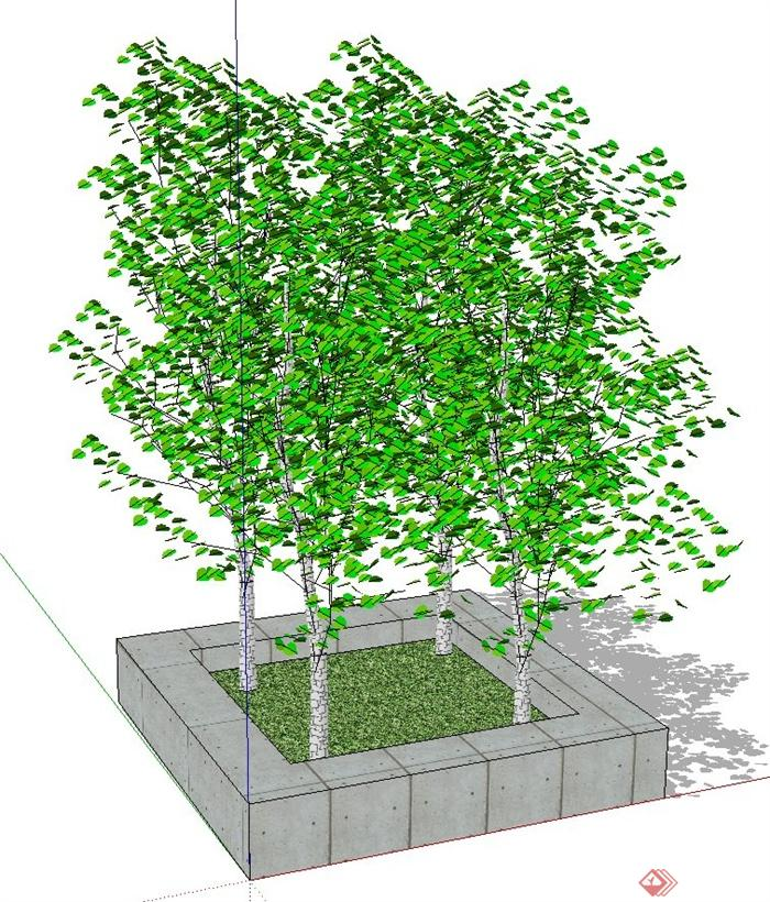 简约方形树池种植池su模型(2)