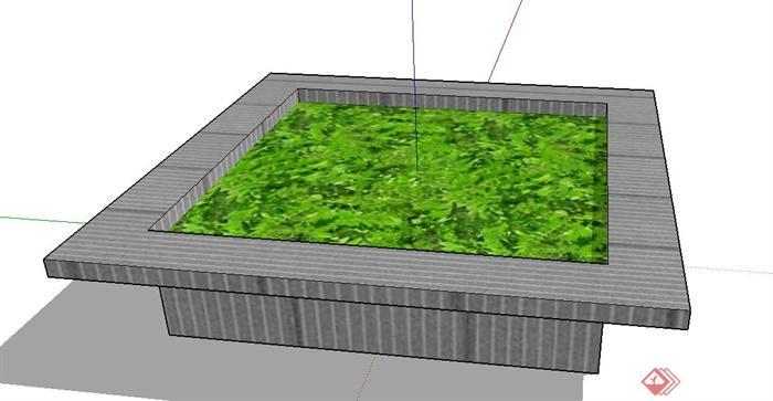 园林景观正方形树池设计su模型(2)