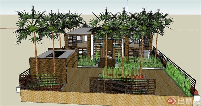 某两层木质别墅建筑su草图大师模型