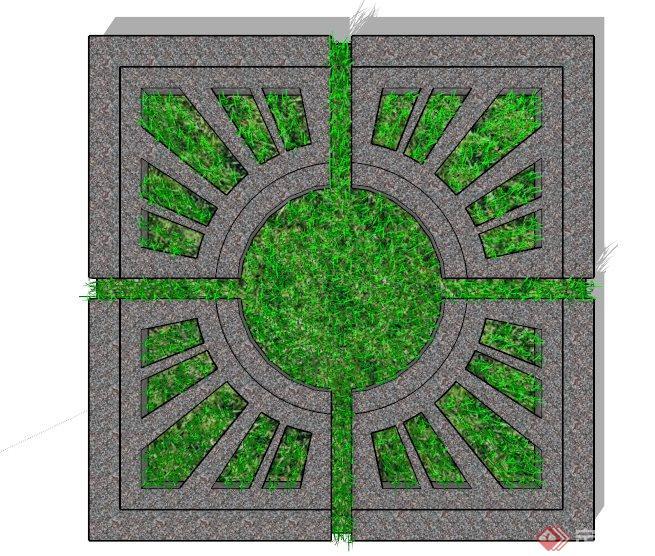 太阳形镂空装饰树池su模型(2)