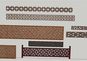 木质镂空围栏花纹设计SU(草图大师)模型