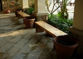 廊架,廊架柱,长椅,花钵