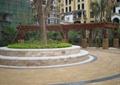 树池,种植池,大理石铺装,木花架,木廊架