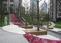 小区防腐木树池坐凳,花带,台阶,标示牌