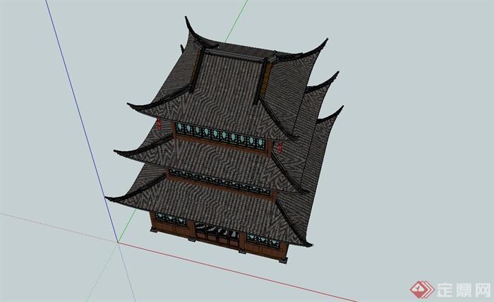 古典中式塔阁楼设计su模型