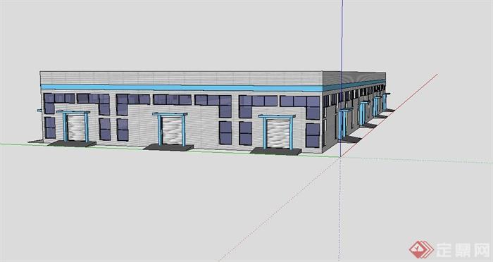 单层工业厂房建筑设计su模型[原创]