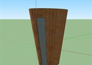现代木制景观柱设计SU(草图大师)模型