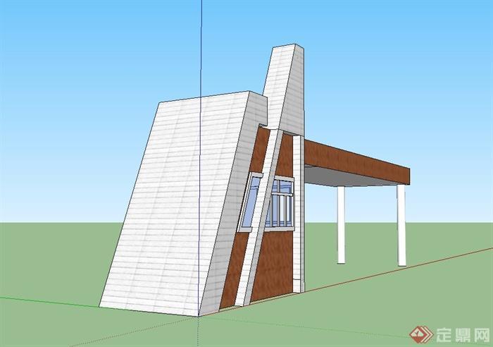 某现代大学校门设计su模型(2)