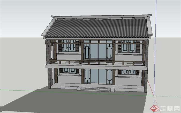 两层古典中式住宅楼建筑设计su模型(1)图片
