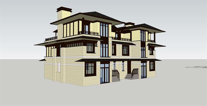 新中式三层别墅建筑设计su模型[原创]