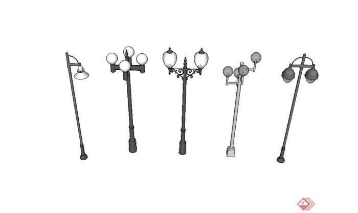五种不同造型的欧式路灯设计su模型[原创]