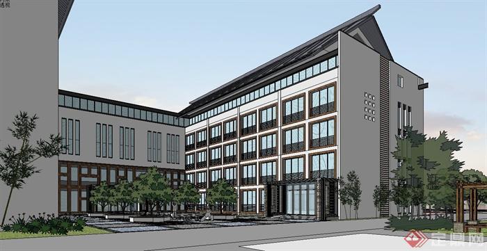 现代中式学校教学楼建筑设计su模型(6)