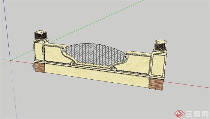 精致欧式围墙设计su模型[原创]