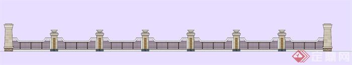 欧式石材质栏杆su模型(4)