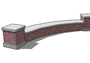 现代砖砌矮墙坐凳设计SU(草图大师)模型