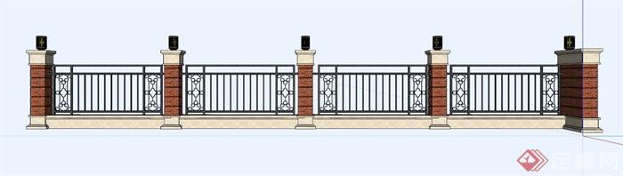 现代中式铁艺栏杆su模型(3)