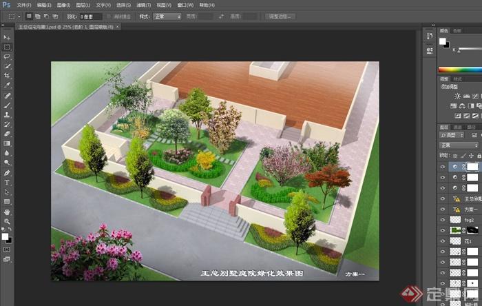 方案别墅设计绿化cad庭院图、psd效果图[开盘原创别墅东丽图片