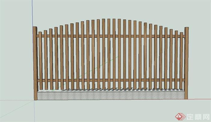 现代木质栅栏围栏设计su模型[原创]
