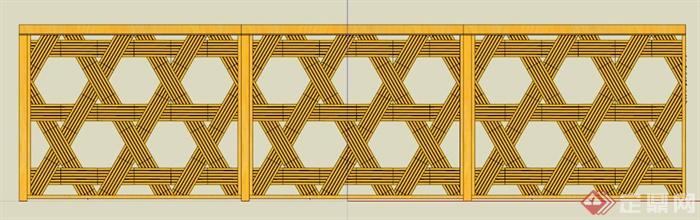 木条编织装饰栏杆su模型[原创]