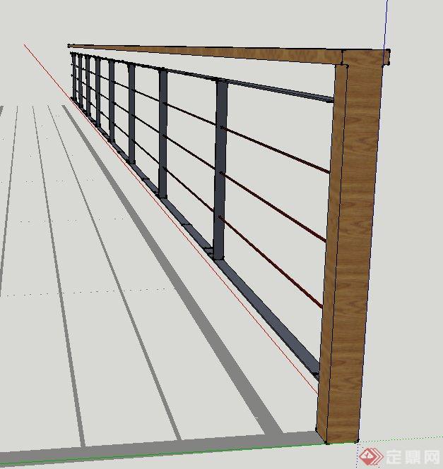 木质铁艺栏杆设计su模型(2)
