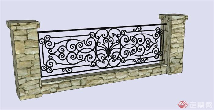 现代中式铁艺石柱栏杆su模型[原创]