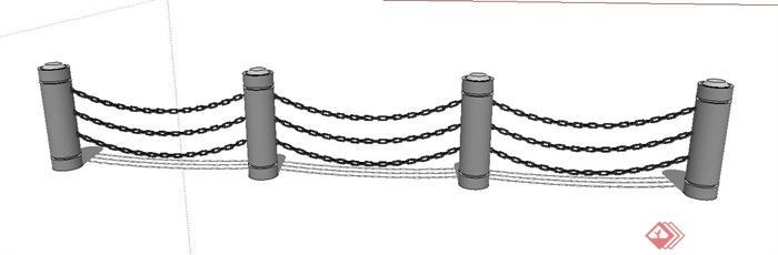 园林景观节点铁链栏杆设计su模型(2)