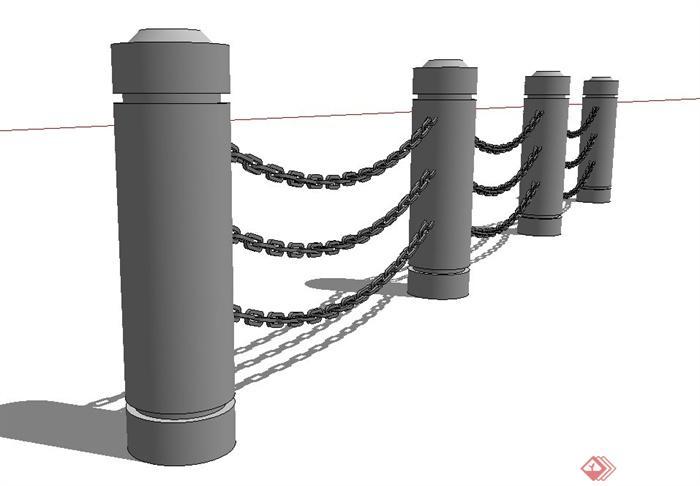 园林景观节点铁链栏杆设计su模型(1)