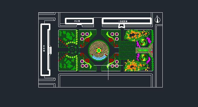 实验楼前广场设计cad平面图[原创]