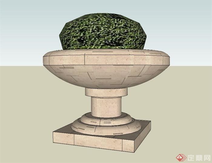 某精致欧式圆形花钵设计su模型