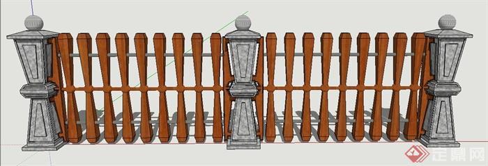 园林景观节点石木组合栏杆设计su模型[原创]