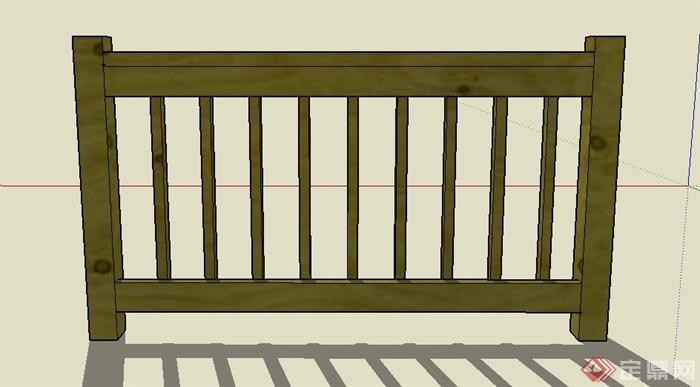 园林景观木质栏杆设计su模型(1)