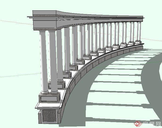 欧式弧形双柱廊架设计su模型[原创]