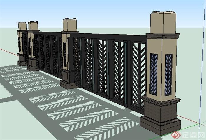 欧式铁艺围墙栏杆设计su模型[原创]图片