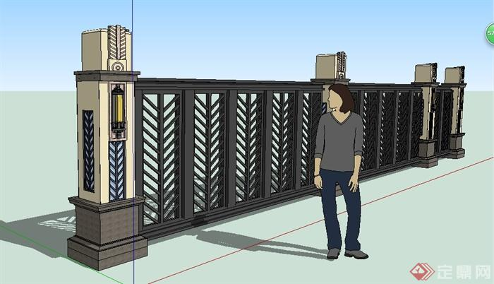 欧式铁艺围墙栏杆设计su模型(1)