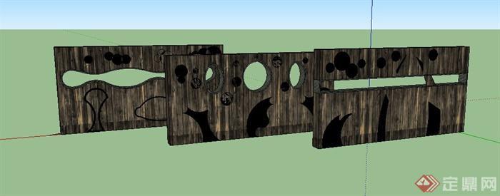 三块木质错落镂空景墙设计su模型