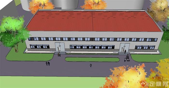 钢结构厂房建筑设计su模型(2)